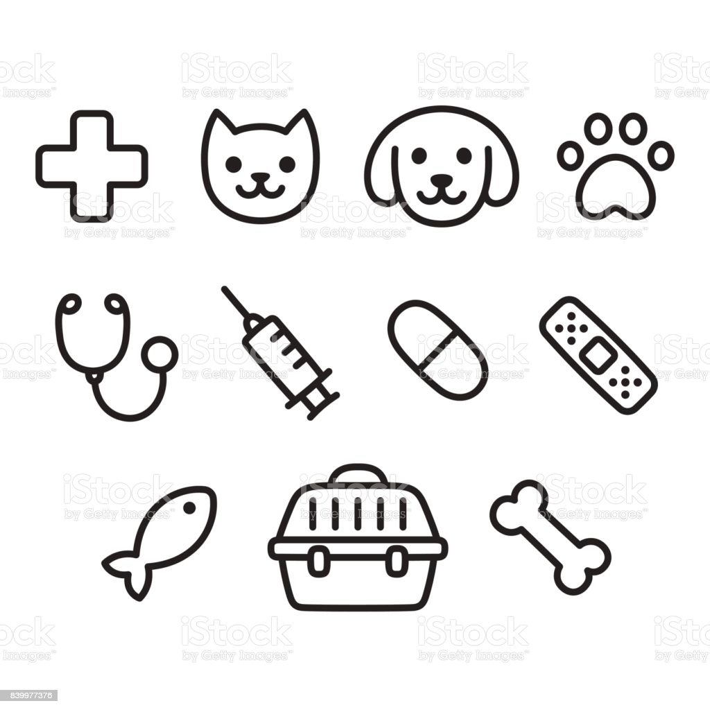 Pet vet icon set vector art illustration