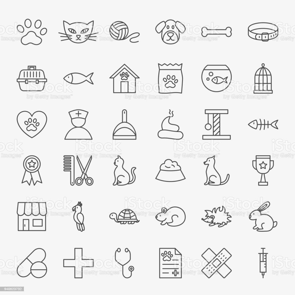 Pet Vet Line Icons Set vector art illustration