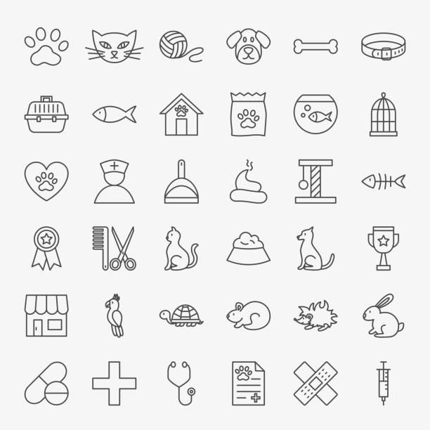 pet vet linie icons set - hamsterhaus stock-grafiken, -clipart, -cartoons und -symbole