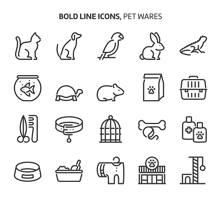 Pet wares, bold line icons
