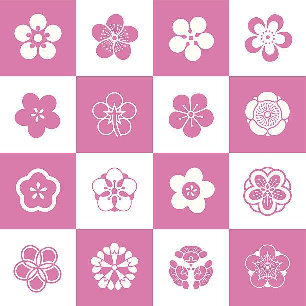 Petal patterns of plum blossom Some petal patterns set of plum blossom,after the abstraction and artistic processing.Because of the shape is similar (5 petals),they can also be used as peach petals and cherry blossom petals.(This editable vector file contains eps10 and No less than 5000×5000 pixels,300dpi jpeg formats.) plum blossom stock illustrations