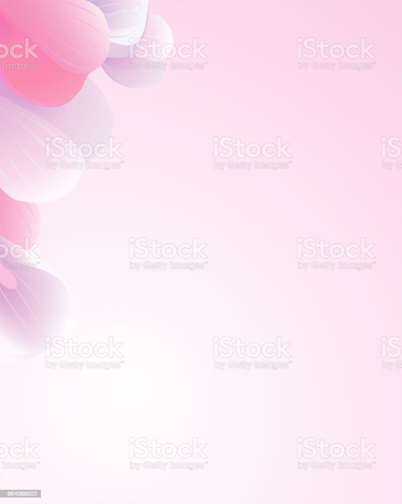 Petals Roses Flowers. Pink Purple Sakura petals frame isolated on Pink gradient background. Vector - Royalty-free Abstract stock vector
