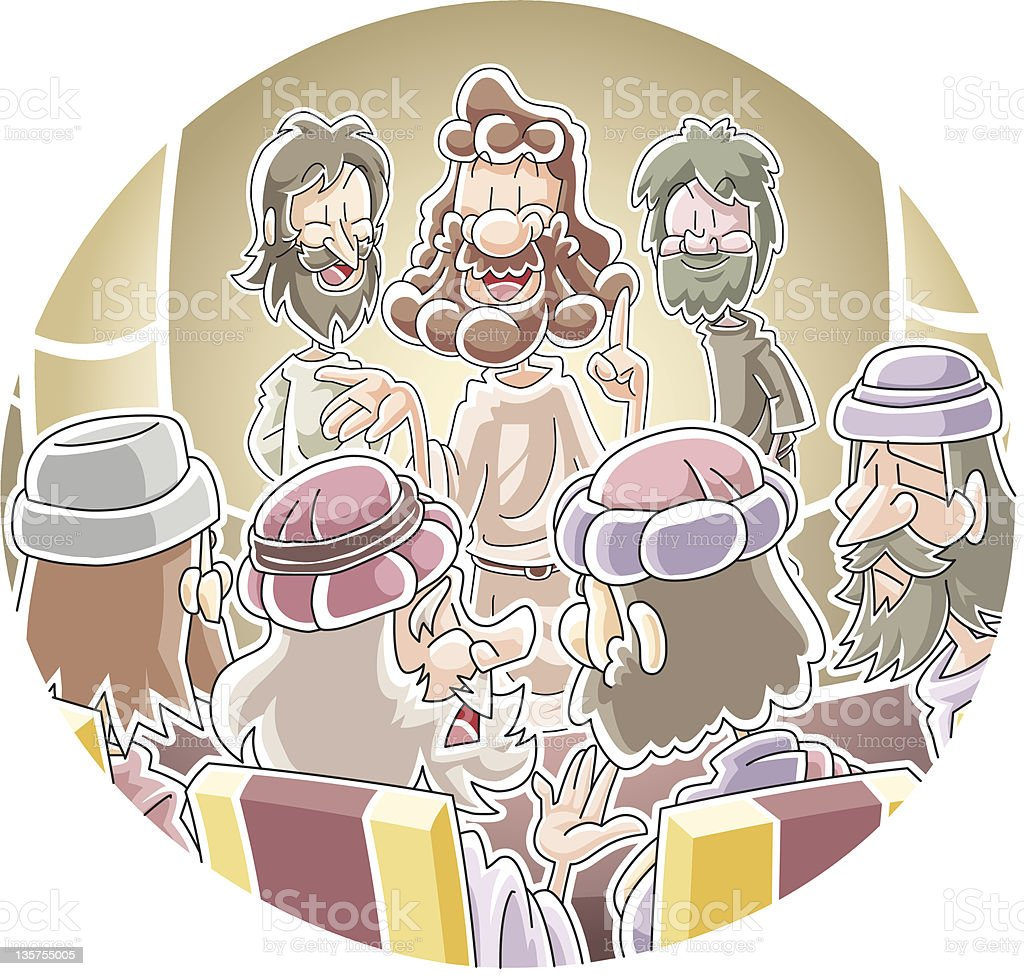 Peter and John before the Sanhedrin vector art illustration