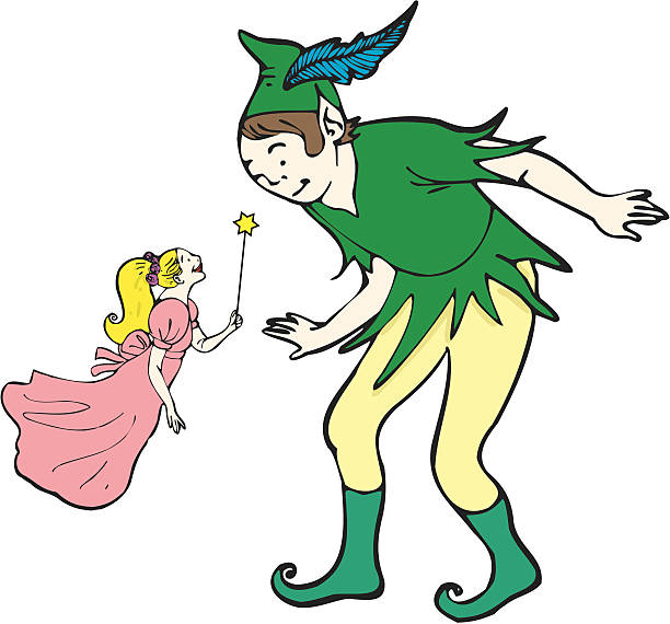 Peter Pan and fairy Peter Pan and a beautiful fairy who has a magic wand in her hand. Editable vector AI8 peter pan stock illustrations