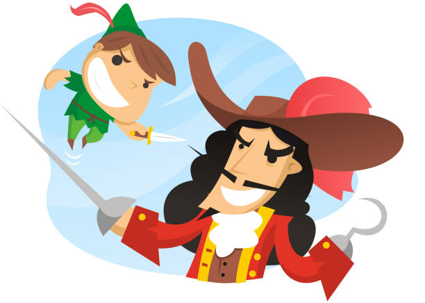 Peter pan Peter pan fighting captain hook. peter pan stock illustrations