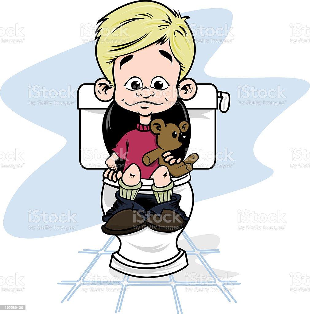 Petit garçon au toilettes. royalty-free stock vector art