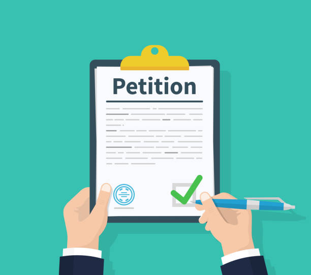 Petition concept. Man hold clipboard in hand writes Petition concept. Diagrams. Flat design, vector illustration on background. Petition concept. Man hold clipboard in hand writes Petition concept. Diagrams. Flat design, vector illustration on background declaration of independence stock illustrations