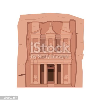 Petra (Jordan). Isolated on white background vector illustration.