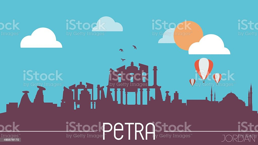 Petra Jordan skyline silhouette vector art illustration