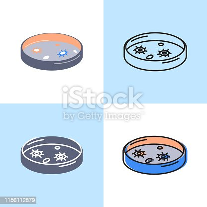 Petri dish icon set in flat and line style. Scientific laboratory equipment symbol. Vector illustration.