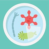 Petri dish of bacteria flat icon, medicine and healthcare, microbiology sign vector graphics, a colorful solid pattern on a cyan background, eps 10.