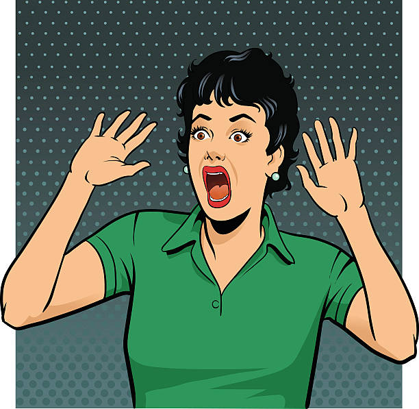 Petrified Screaming Retro Style Woman vector art illustration