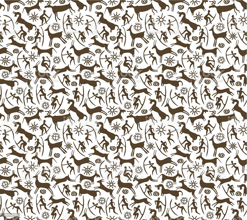 Petroglyphs. Seamless background vector art illustration