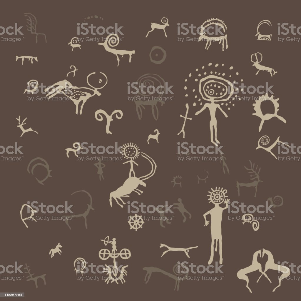 Petroglyphs vector art illustration