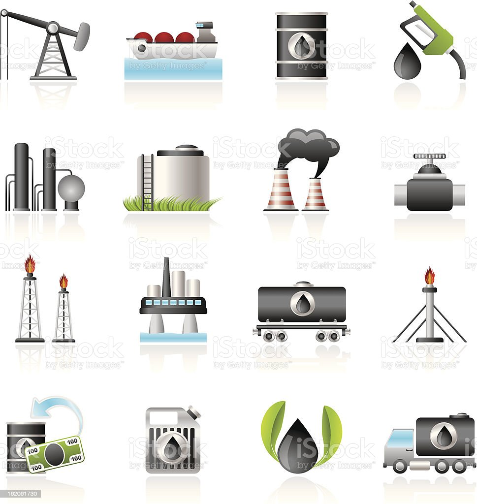 Petrol and oil industry icons vector art illustration