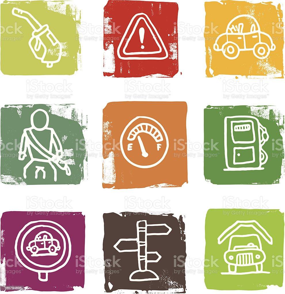 Benzin Benzin und Auto mit block-icon-set – Vektorgrafik