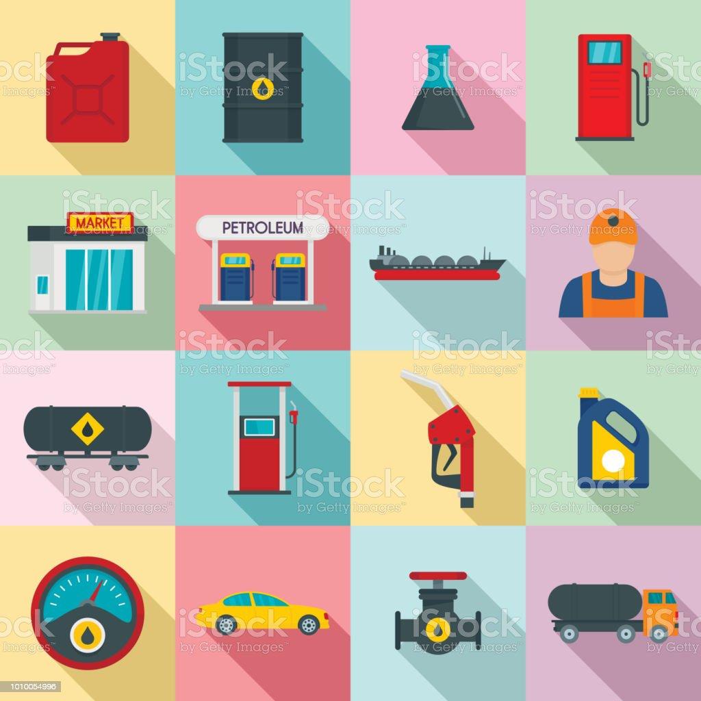 Petrol station gas fuel shop icons set, flat style vector art illustration