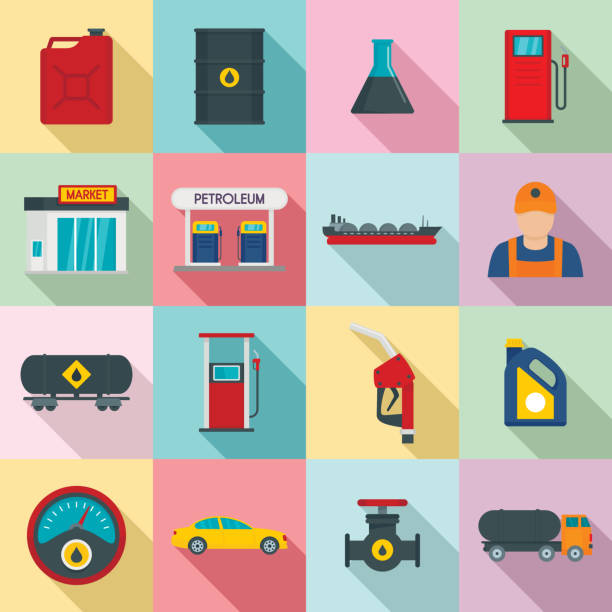 illustrazioni stock, clip art, cartoni animati e icone di tendenza di petrol station gas fuel shop icons set, flat style - benzina