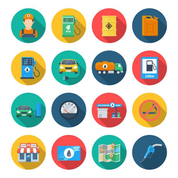 illustrazioni stock, clip art, cartoni animati e icone di tendenza di icona del distributore di benzina - combustibile fossile