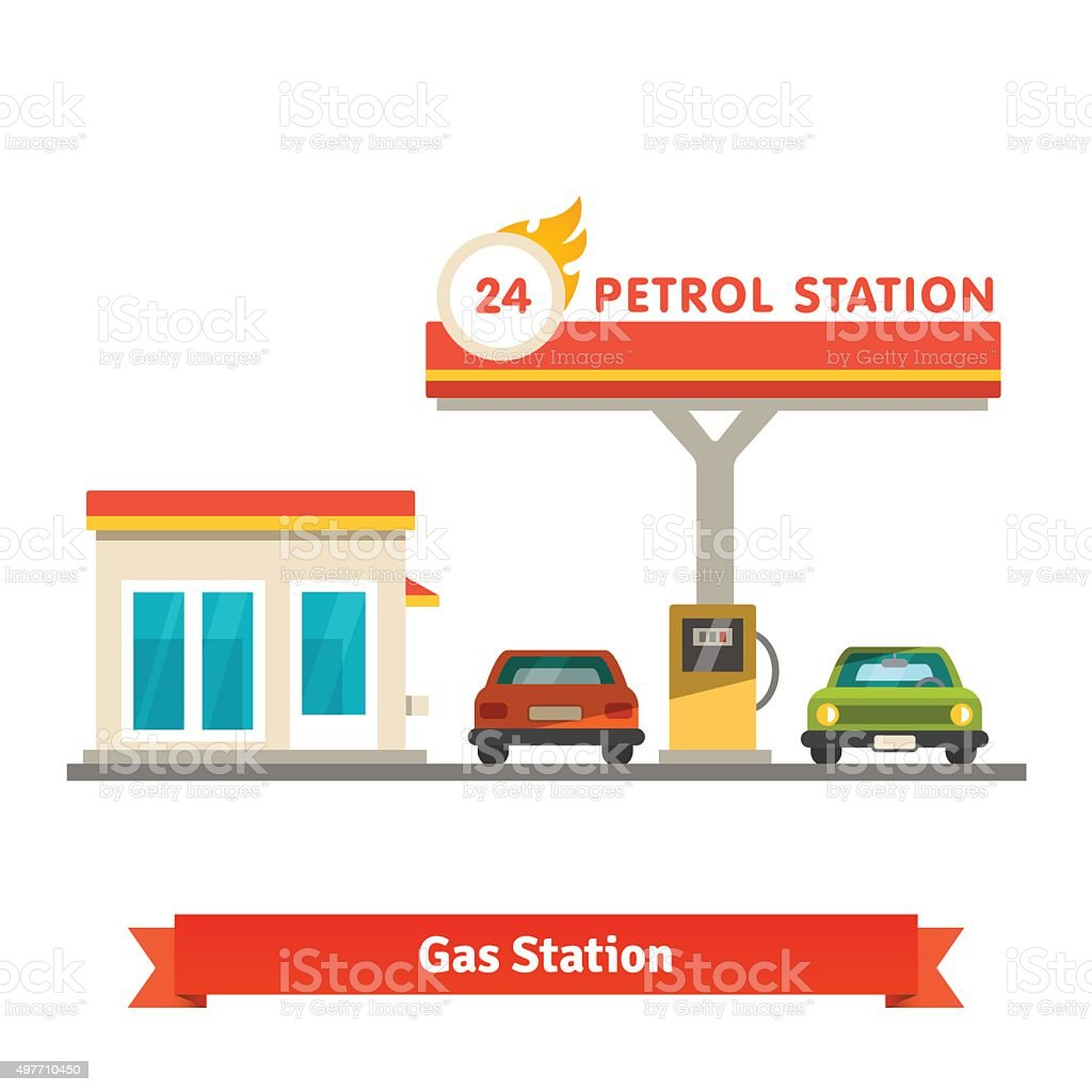 Petrol station with two cars vector art illustration