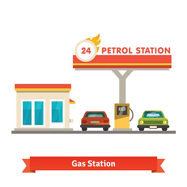 ilustrações, clipart, desenhos animados e ícones de posto de gasolina com dois carros - garage
