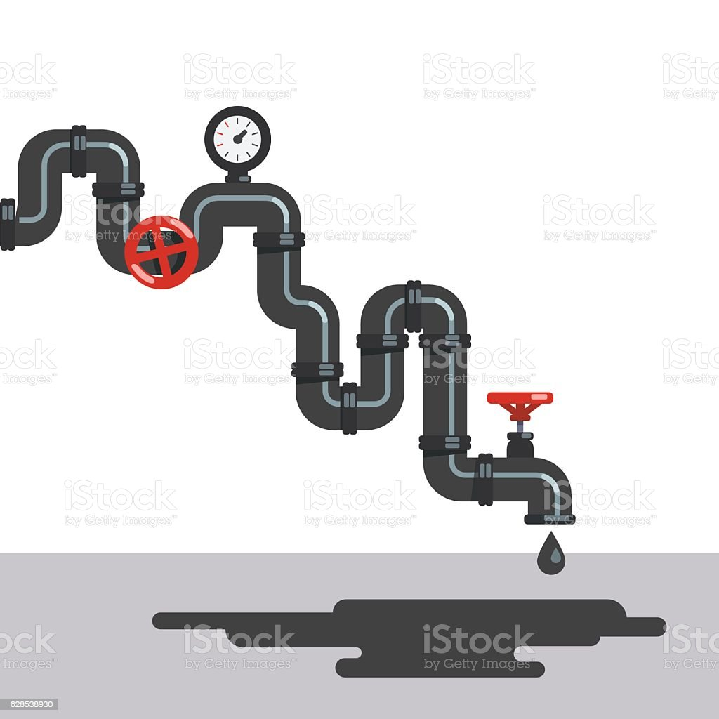 Petroleum fuel dripping from pipeline tap vector art illustration