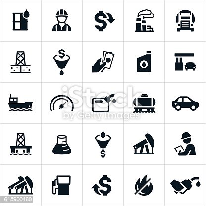 An icon set representing the petroleum industry. The icons include oil, workers, engineers, inspectors, oil refinery, gas prices, transport, drilling for oil, cost of oil, gasoline, barge transport, trucking transport, oil well, gas can and gas pump among others.