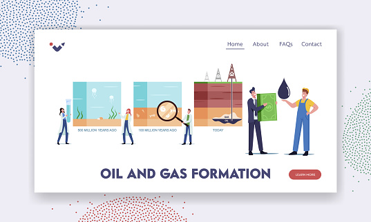 Petroleum Oil and Gas Formation Landing Page Template. Scientists Characters Presenting Time Line of Fossil Sediments