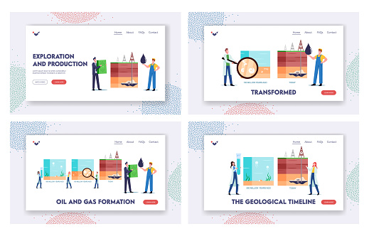 Petroleum Oil Gas Formation Landing Page Template Set. Scientists Characters Presenting Time Line of Fossil Fuel Layers