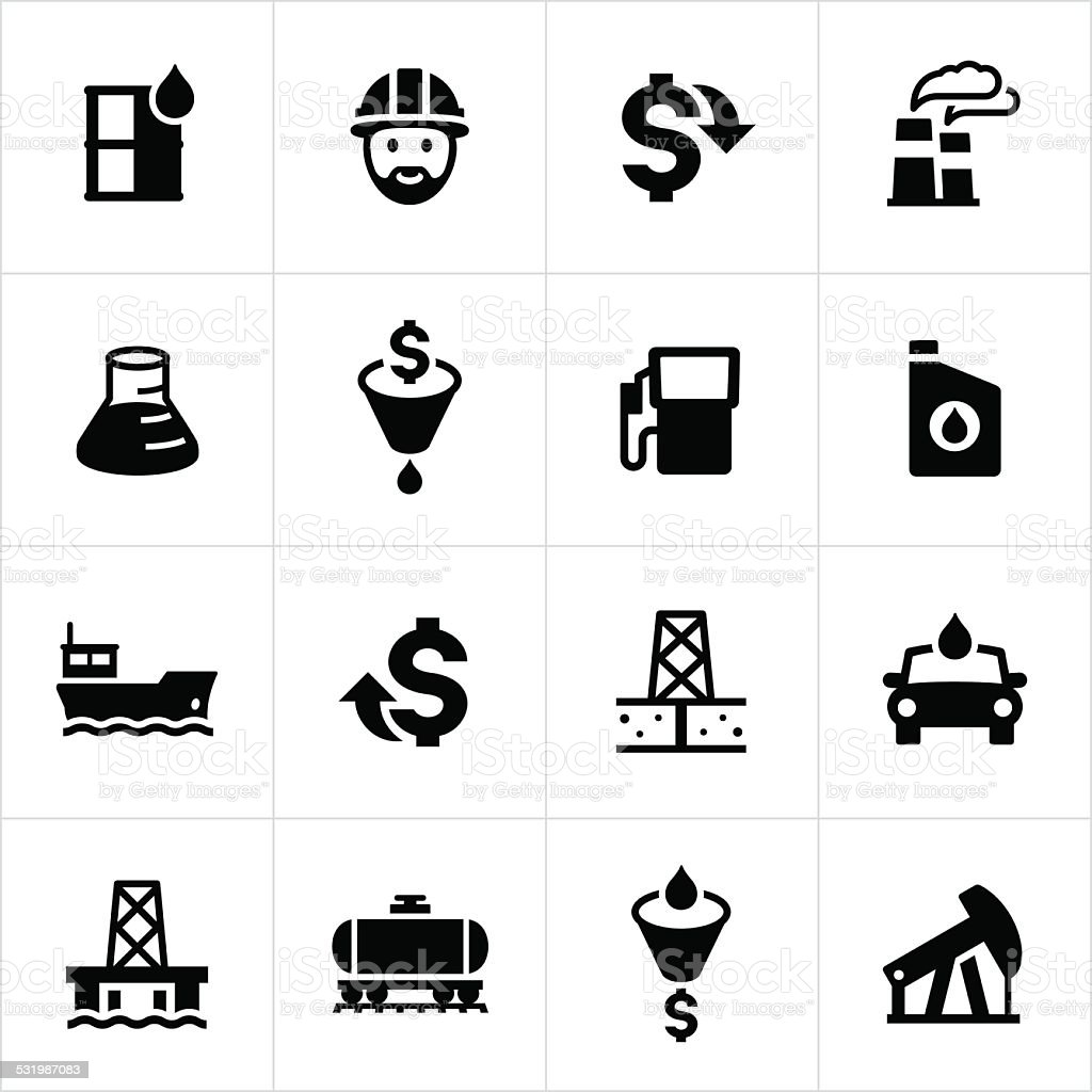 Petroleum Production Icons vector art illustration