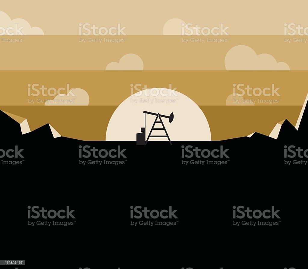Petroleum pump silhouette against sunset royalty-free stock vector art