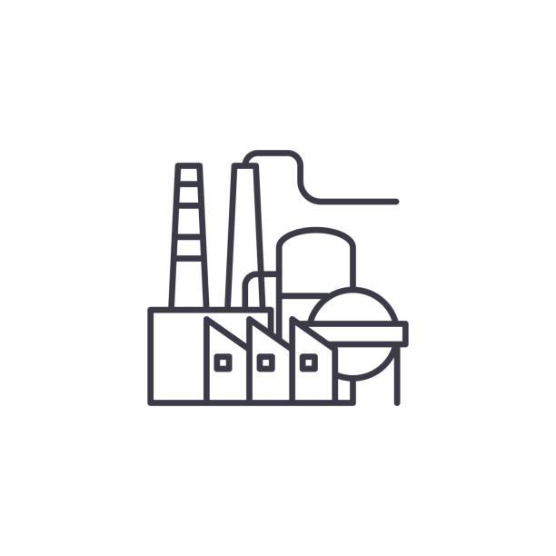 煉油廠線性圖示概念。煉油廠線向量符號、符號、插圖。向量藝術插圖