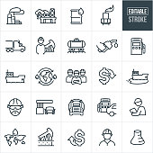 A set of petroleum icons that include editable strokes or outlines using the EPS vector file. The icons include an oil refinery, offshore oil platform, oil rig, barrel of oil, semi-truck, engineer, pump jack, railway, gas pump, person pumping gas, oil barge, team of engineers, oil spill, cost of oil down, gas station, gasoline tanker, gasoline, petroleum, cost of oil up and other related icons.