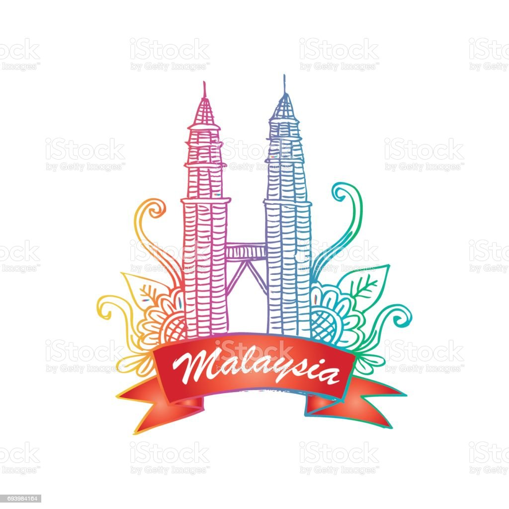 Petronas towers in Kuala Lumpur. Sketchy style.