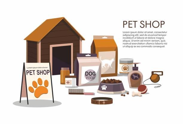 ilustrações de stock, clip art, desenhos animados e ícones de pets accessories isolated on white background. pet shop. - dog food