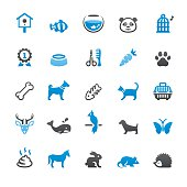 Pets and Animals related vector icons