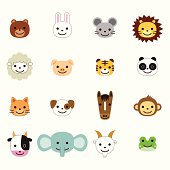 Pets and farm animals icons.