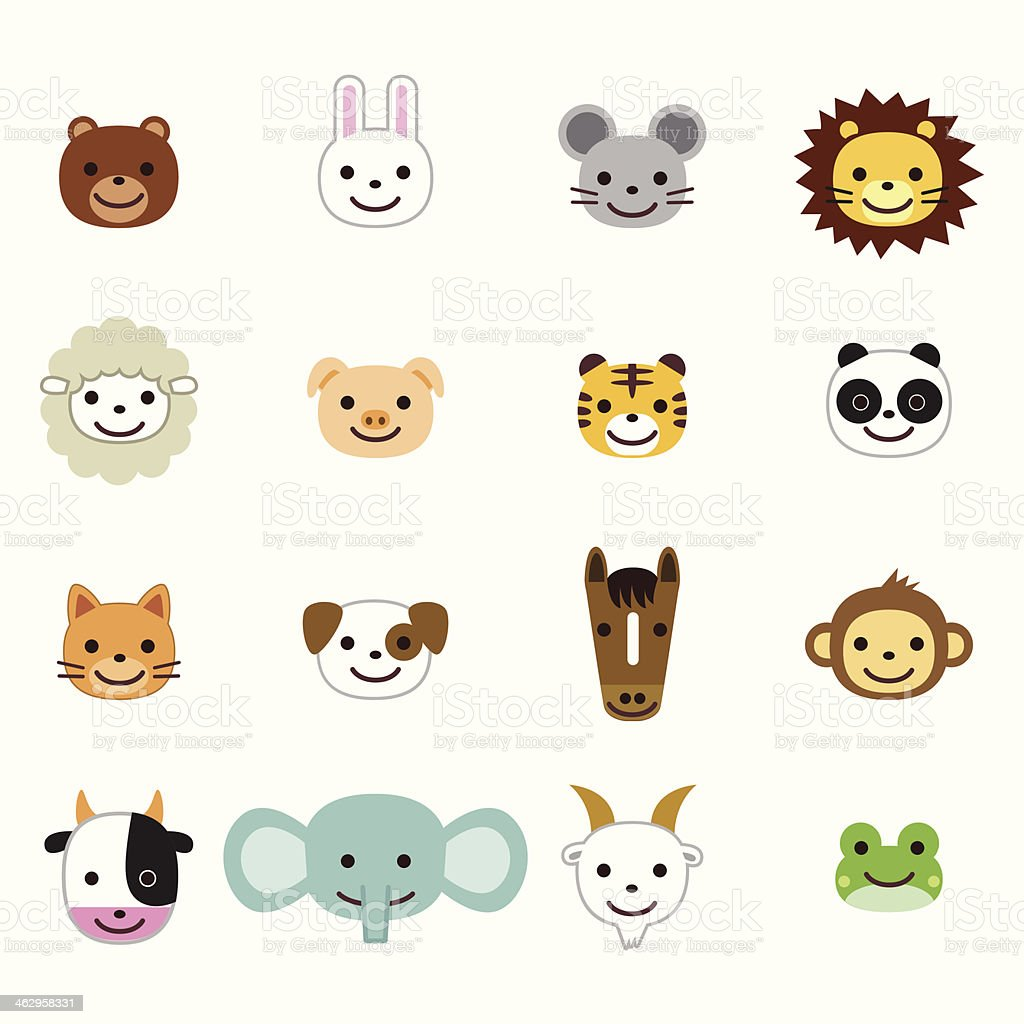 Pets and farm animals icons vector art illustration