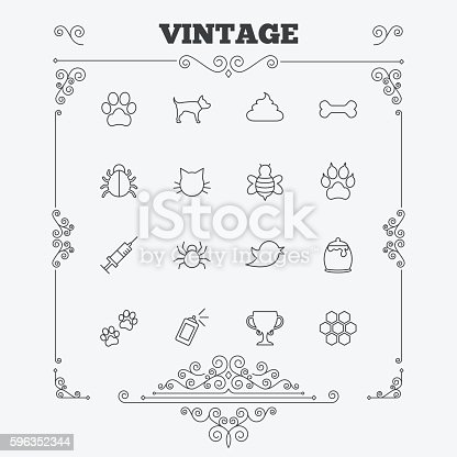 Pets And Insect Icon Dog Cat Paw With Clutches Stock Vector Art & More Images of Animal