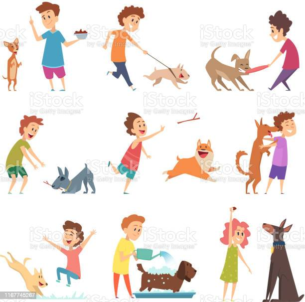 Pets and kids happy little puppy dogs and their owners hugging vector id1167745267?b=1&k=6&m=1167745267&s=612x612&h= sth5tlv6rtpbahm7j9zxjgihhydirltomkgbmfed u=