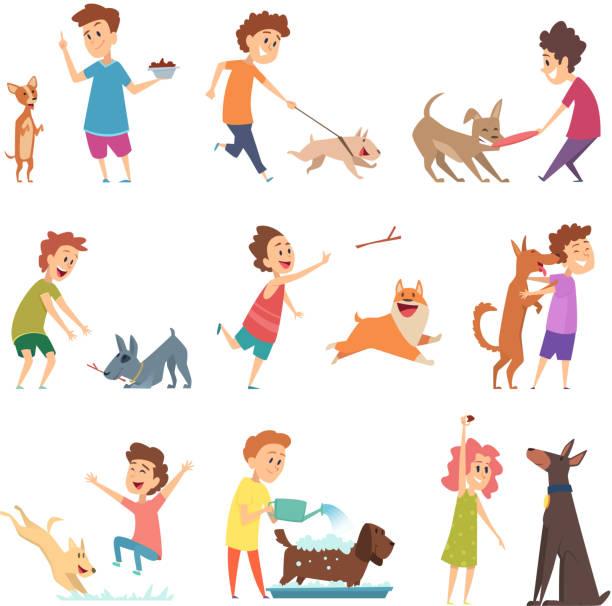 illustrazioni stock, clip art, cartoni animati e icone di tendenza di animali domestici e bambini. piccoli cani da cucciolo felici e i loro proprietari che si abbracciano giocando a animali vettoriali che si nutrono sorridenti - bambino cane