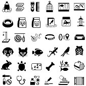 Single colour icons of pets and pet care products. Isolated.