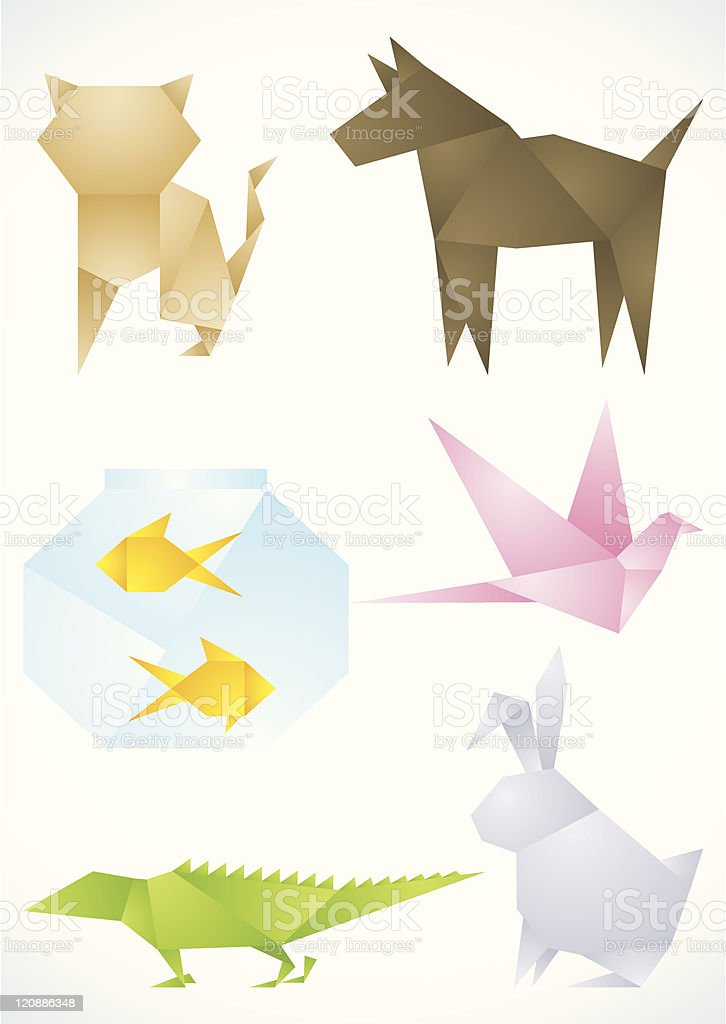 Pets are made of paper royalty-free stock vector art