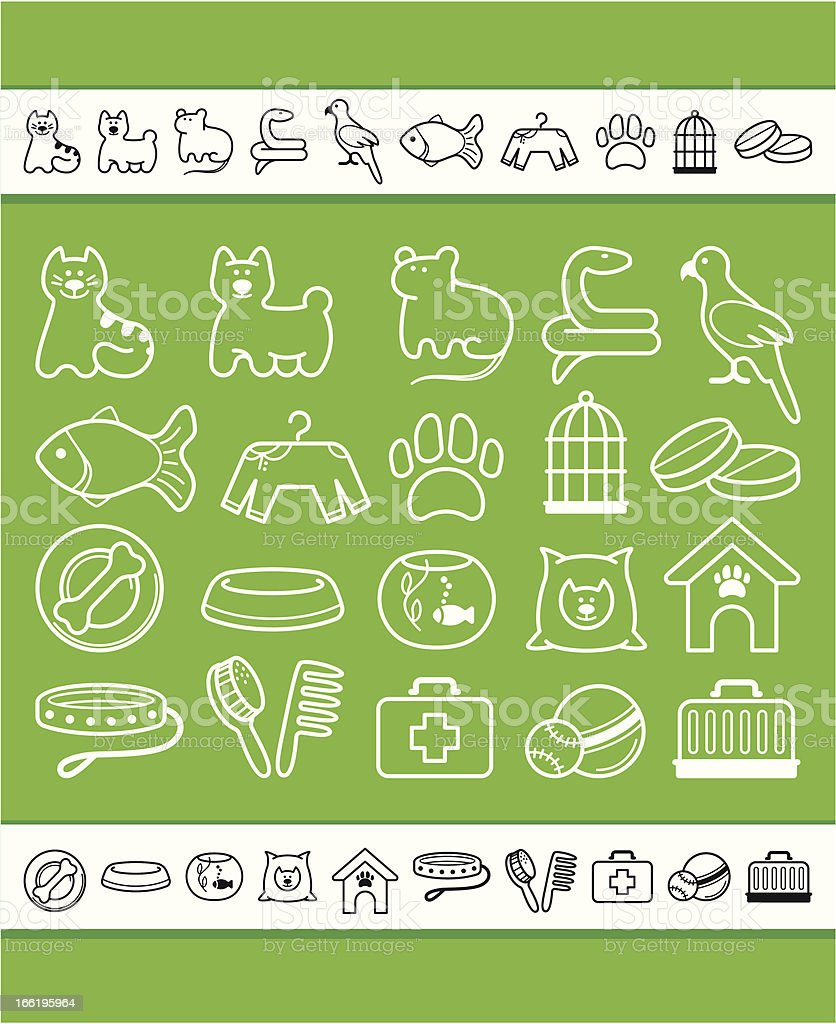 Pets care icon set royalty-free stock vector art