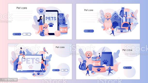 Pets care pet shop tiny people and pets concept screen template for vector id1197844785?b=1&k=6&m=1197844785&s=612x612&h=ymovvsoky0snsk0jjqdytdreyjuoazec sfl oozo2k=
