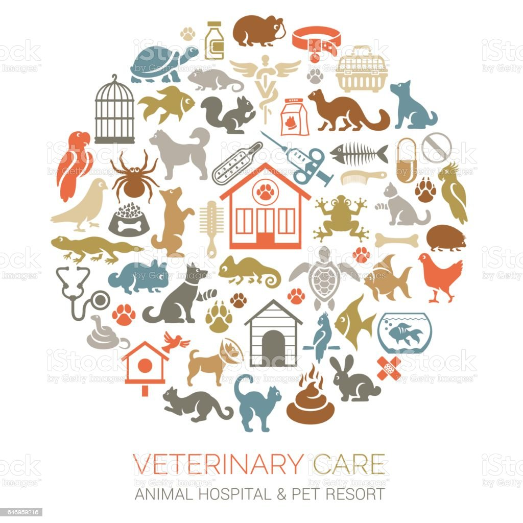 Pets Collage vector art illustration