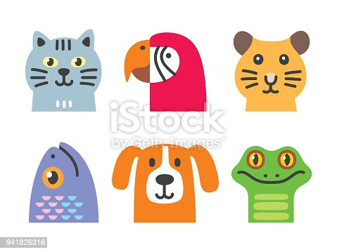 Vector set of different domestic animals. Files included: Vector EPS 10, HD JPEG 4000 x 3000 px