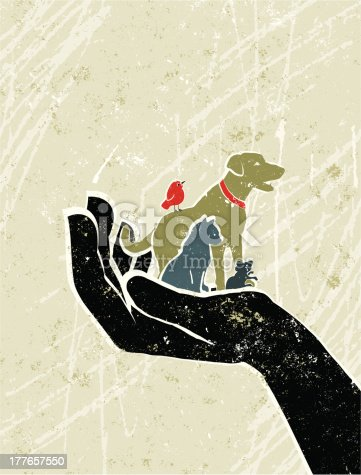 Animal Welfare! A stylized vector cartoon of tiny pets in a giant hand, reminiscent of an old screen print poster and suggesting protection, animal welfare or pet insurance. Dog, cat, bird, mouse, paper texture, and background are on different layers for easy editing. Please note: clipping paths have been used, an eps version is included without the path.