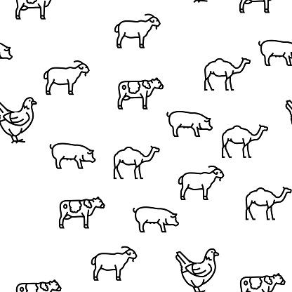 Pets Domestic Animal Vector Seamless Pattern