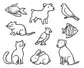 Pets Doodle Set. Vector illustration.